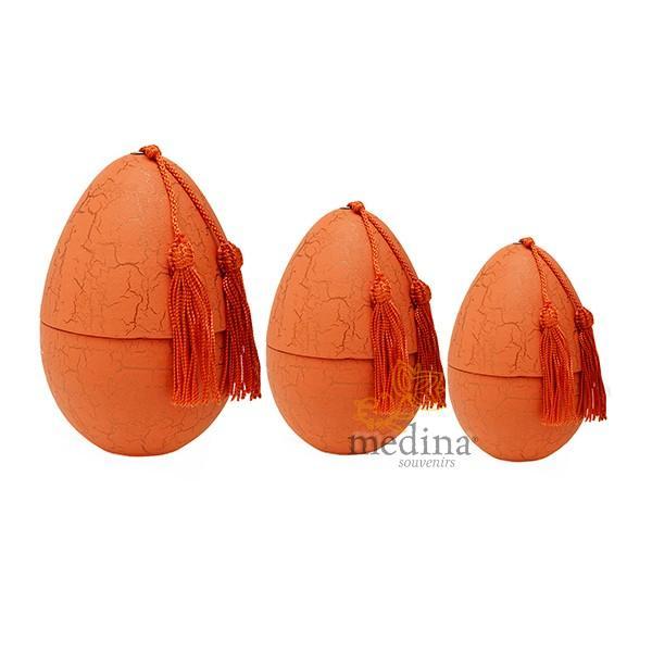 Oeuf tadelakt craquelé orange