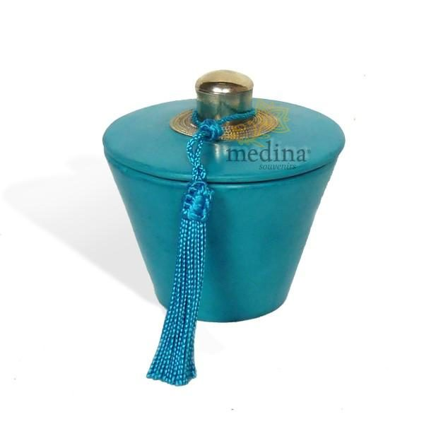 Boite conique tadelakt bleu et son pompon de soie