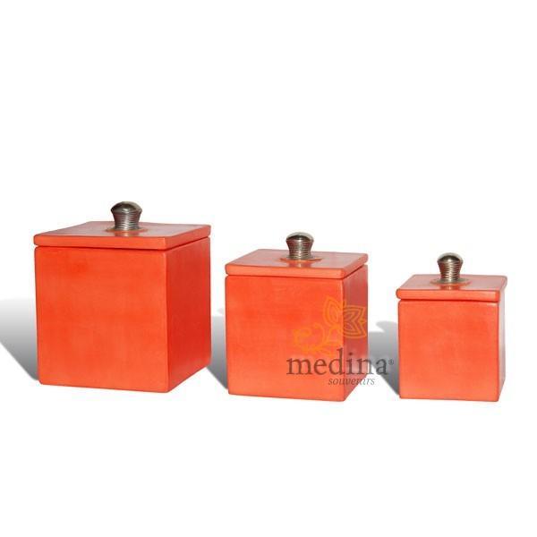Boite tadelakt carré orange