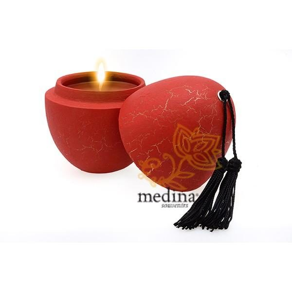 Bougie parfumée en oeuf tadelakt craquelé rouge