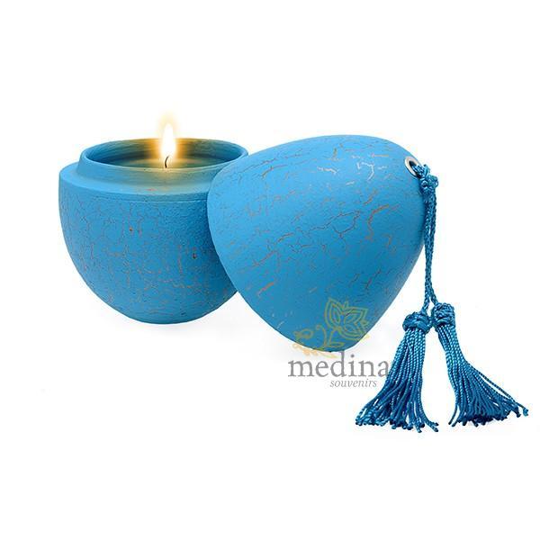 Bougie parfumée en oeuf tadelakt craquelé turquoise