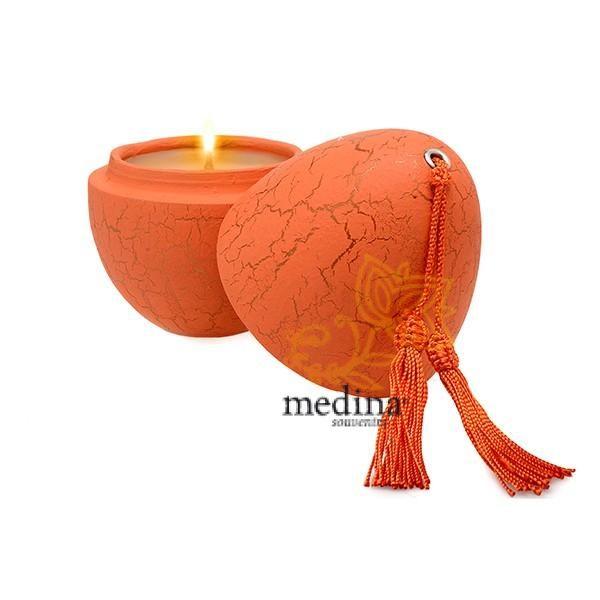 Bougie parfumée en oeuf tadelakt craquelé orange