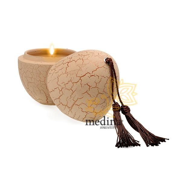 Bougie parfumée en oeuf tadelakt craquelé ivoire