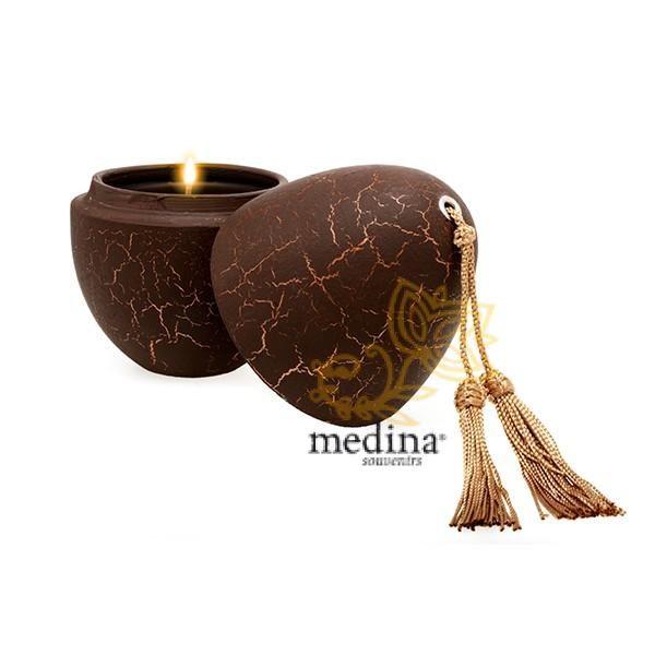 Bougie parfumée en oeuf tadelakt craquelé chocolat