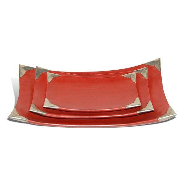Assiettes tadelakt rectangulaires rouge brique