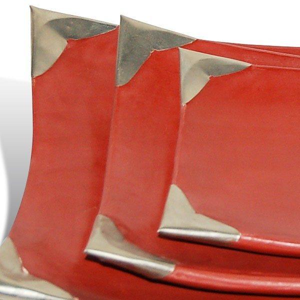 Assiettes tadelakt rectangulaires rouge brique zoom