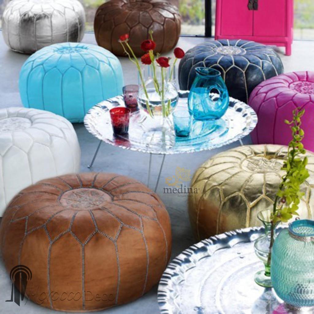 Pouf design cuir marocain Cuivre
