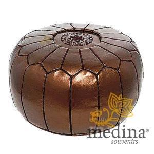 Pouf design cuir marocain brun métallique, pouf entièrement fait main