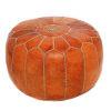 Pouf design cuir marocain marron, pouf en cuir véritable fait main