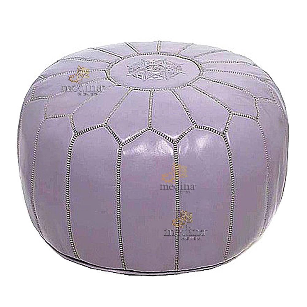 Pouf design cuir marocain violet, pouf en cuir véritable fait main