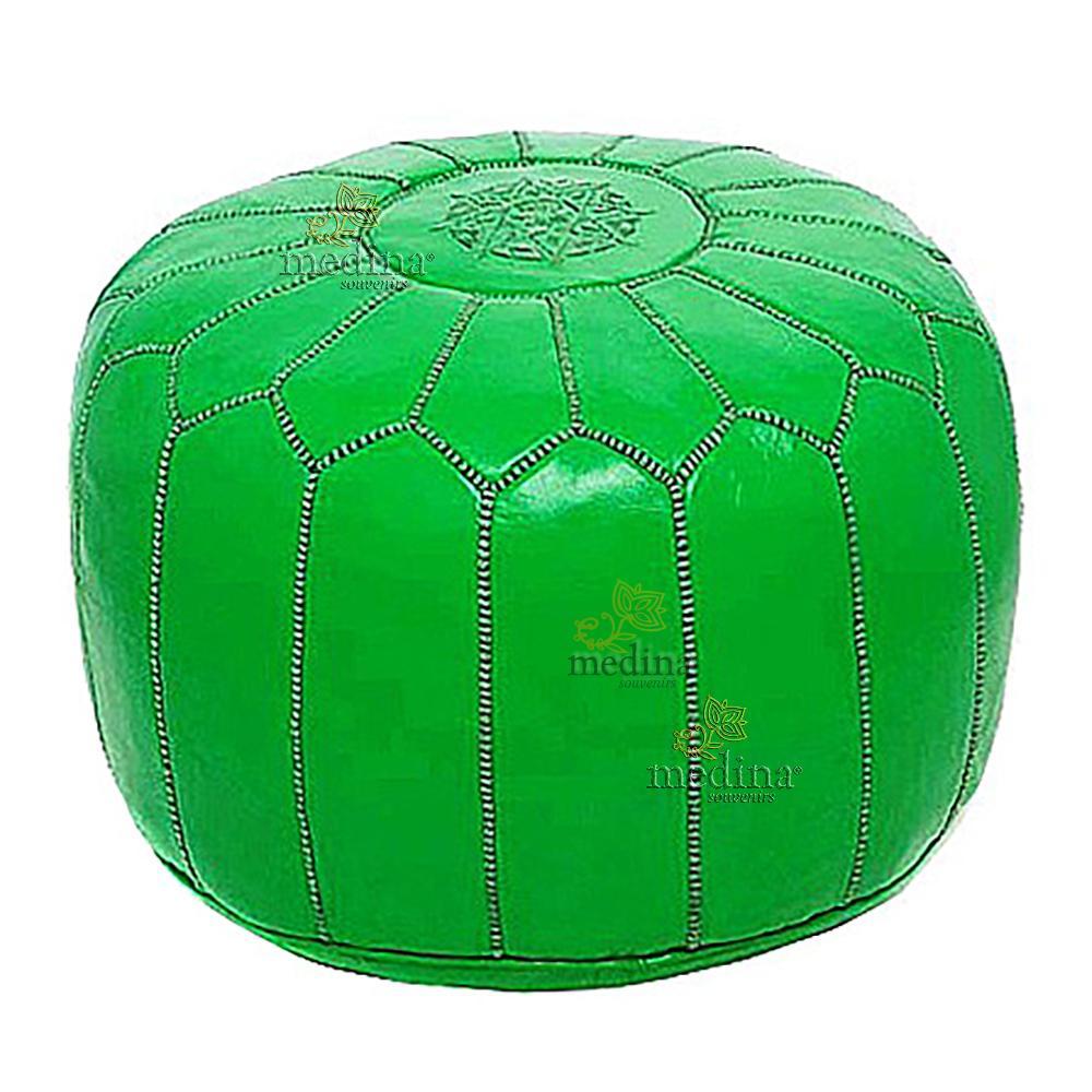 Pouf design cuir marocain vert fluo, pouf en cuir véritable fait main