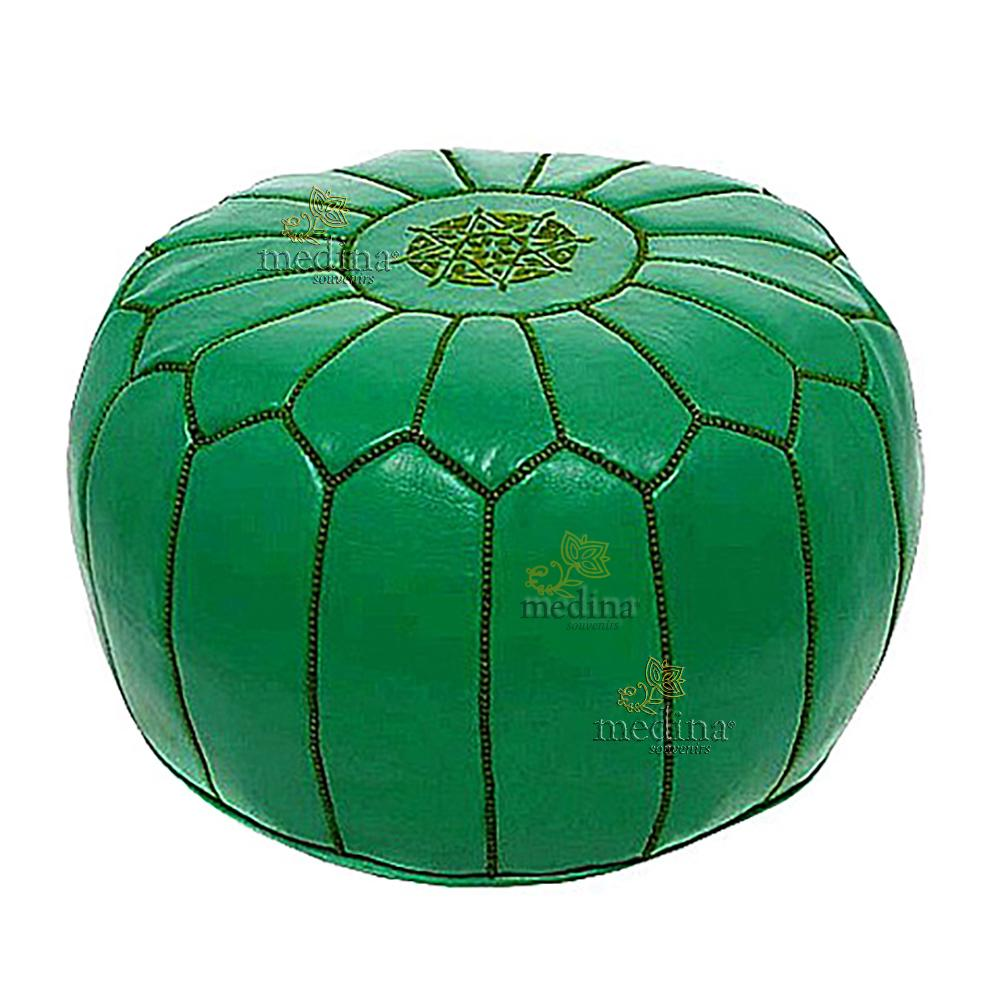 Pouf design cuir marocain vert, cousu à la main.