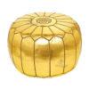 Pouf design cuir marocain Doré, pouf entièrement fait main