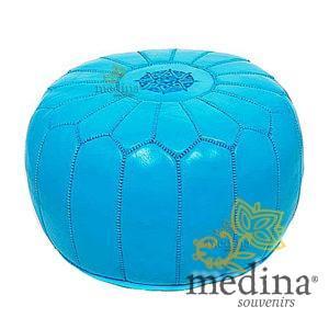 Pouf design cuir marocain Turquoise, pouf en cuir véritable fait main