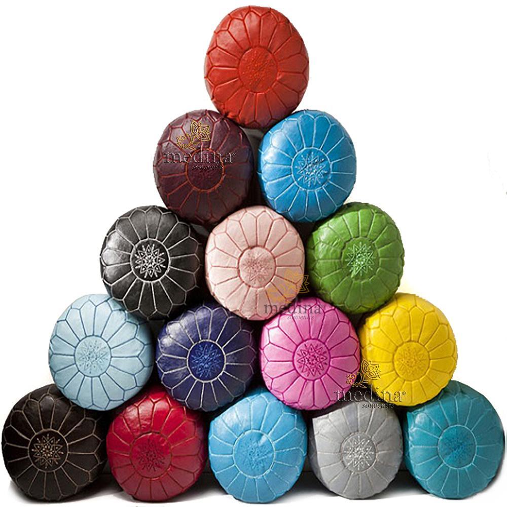 Pouf design cuir marocain Blanc et Or, pouf en cuir véritable fait main
