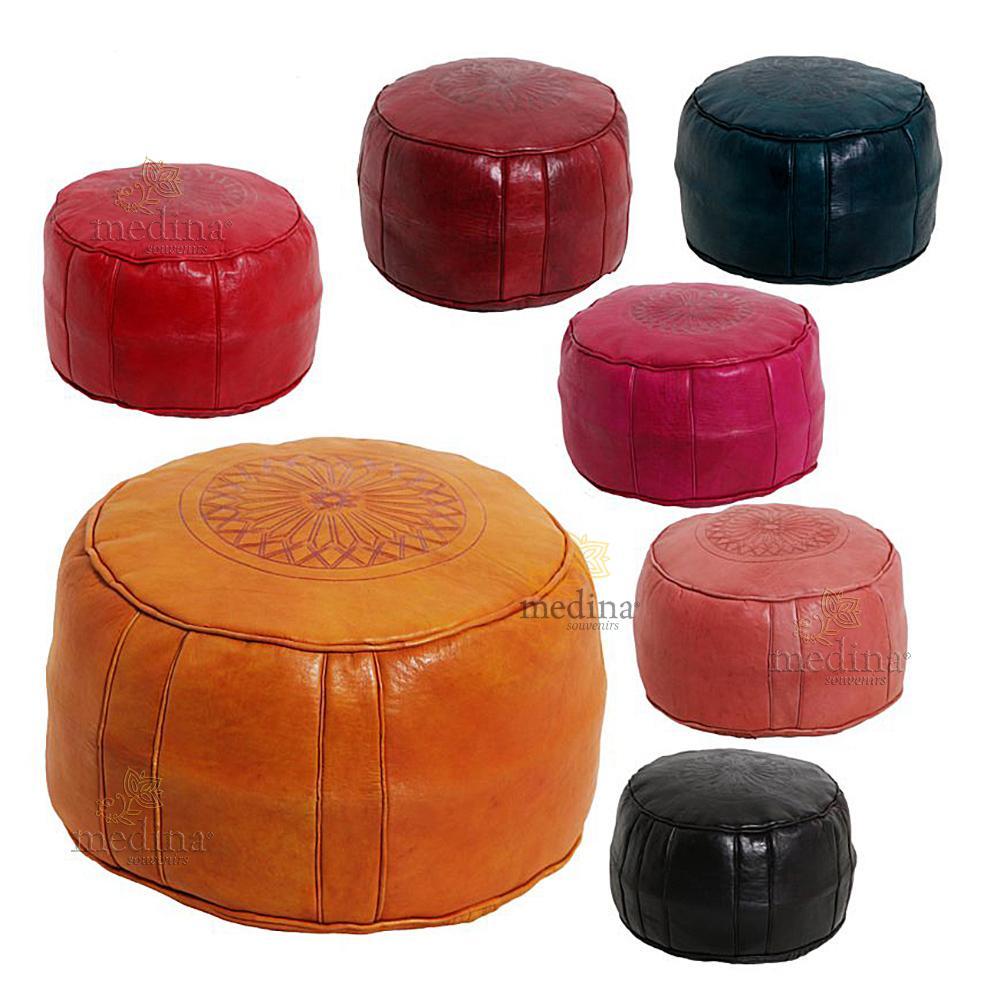 Pouf rond rosace Turquoise, pouffe en cuir veritable fait main