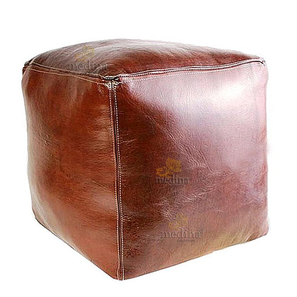 Pouf marocain cube marron chocolat, pouf carré artisanal en cuir veritable