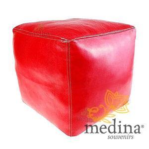 Pouf marocain cube rouge, pouf carré artisanal en cuir veritable