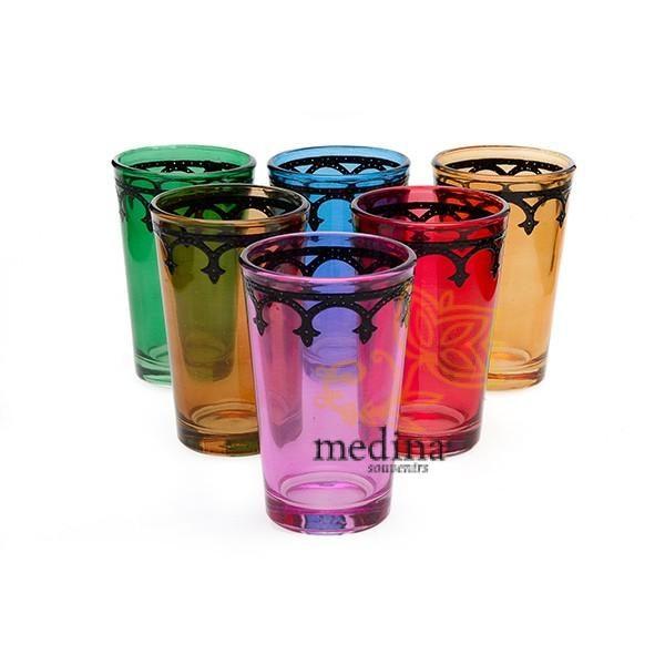 Verres a thé arcades multicolors