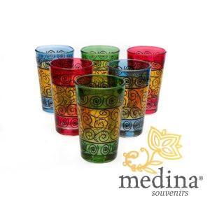 Verres a thé décorés au henné couleurs variées
