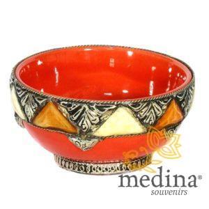 Bol artisanal orné, décoré et émaillé orange