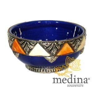 Bol artisanal orné, décoré et émaillé bleu