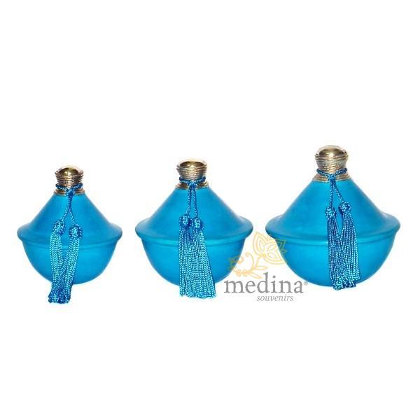 Tagine turquoise en tadelak et métal argenté