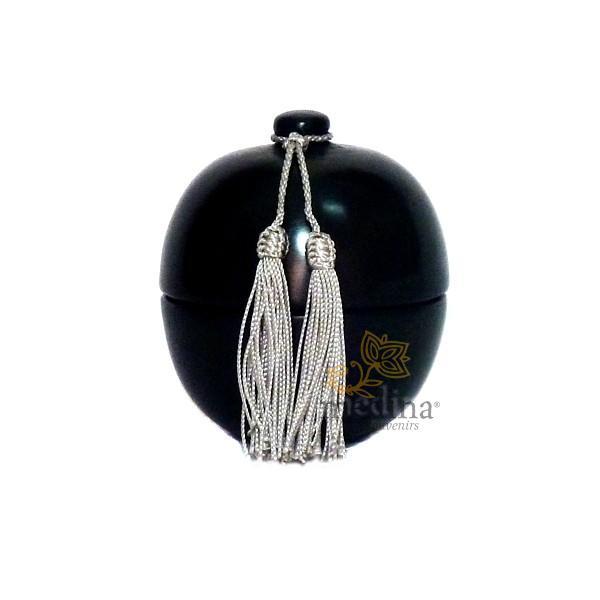 Boite boule design noire en tadelakt et son pompon de soie