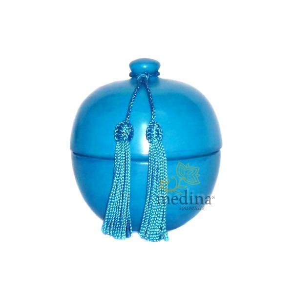 Boite boule design turquoise en tadelakt et son pompon de soie