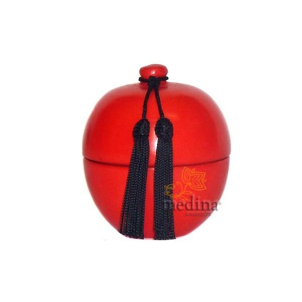 Boite boule design rouge en tadelakt et son pompon de soie
