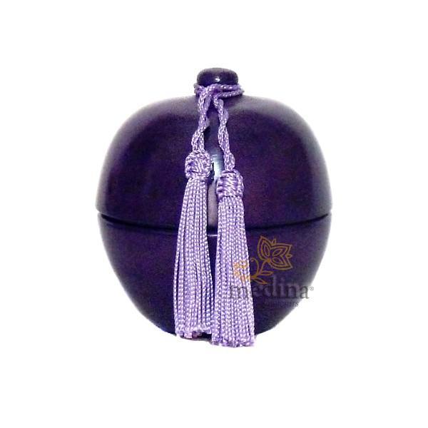 Boite boule design en tadelakt violet et son pompon de soie