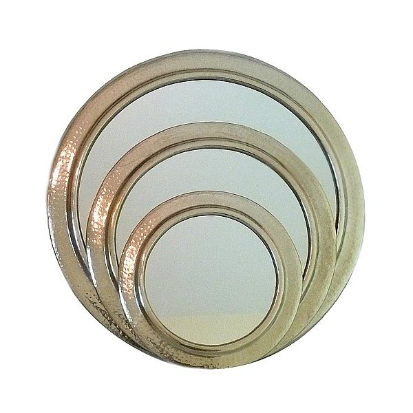 Miroir rond en métal martelé