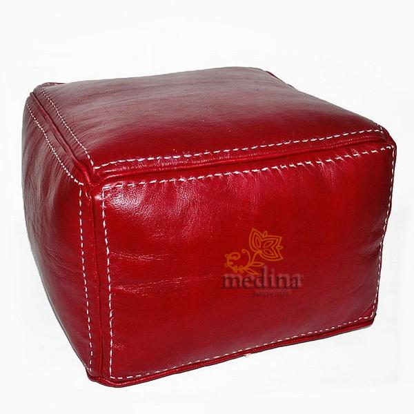Pouf carré marron bordeau en cuir surpiqué