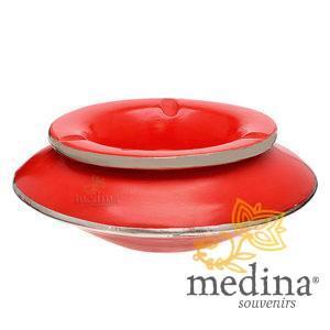 Grand cendrier marocain tadelakt large rouge, grand cendrier design 100% fait main, avec couvercle stop fumée