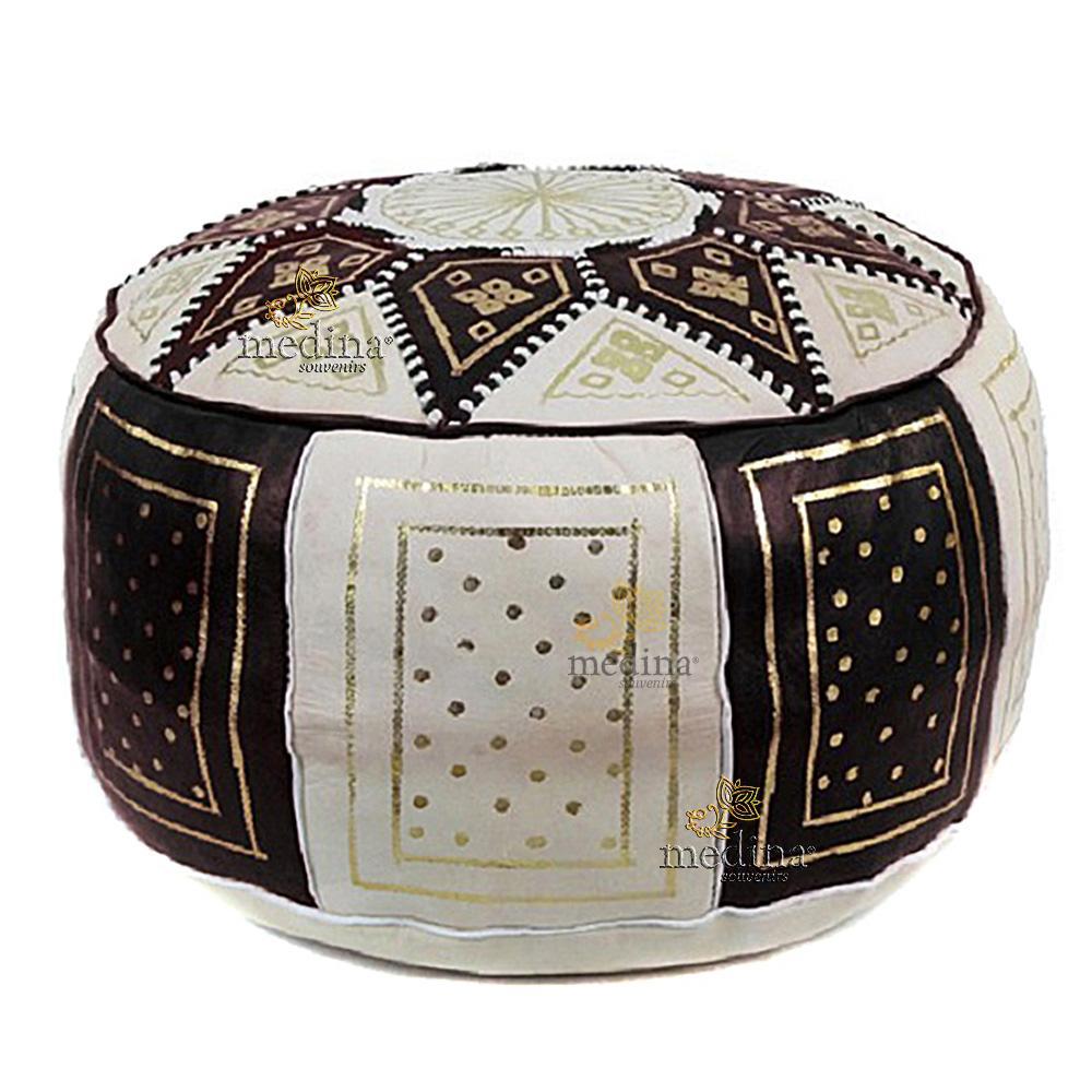 Pouf fassi en cuir Ivoire et Noir, pouffe en cuir veritable fait main