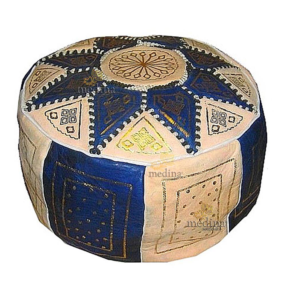 Pouf fassi en cuir Ivoire et bleu marine, pouffe en cuir veritable fait main