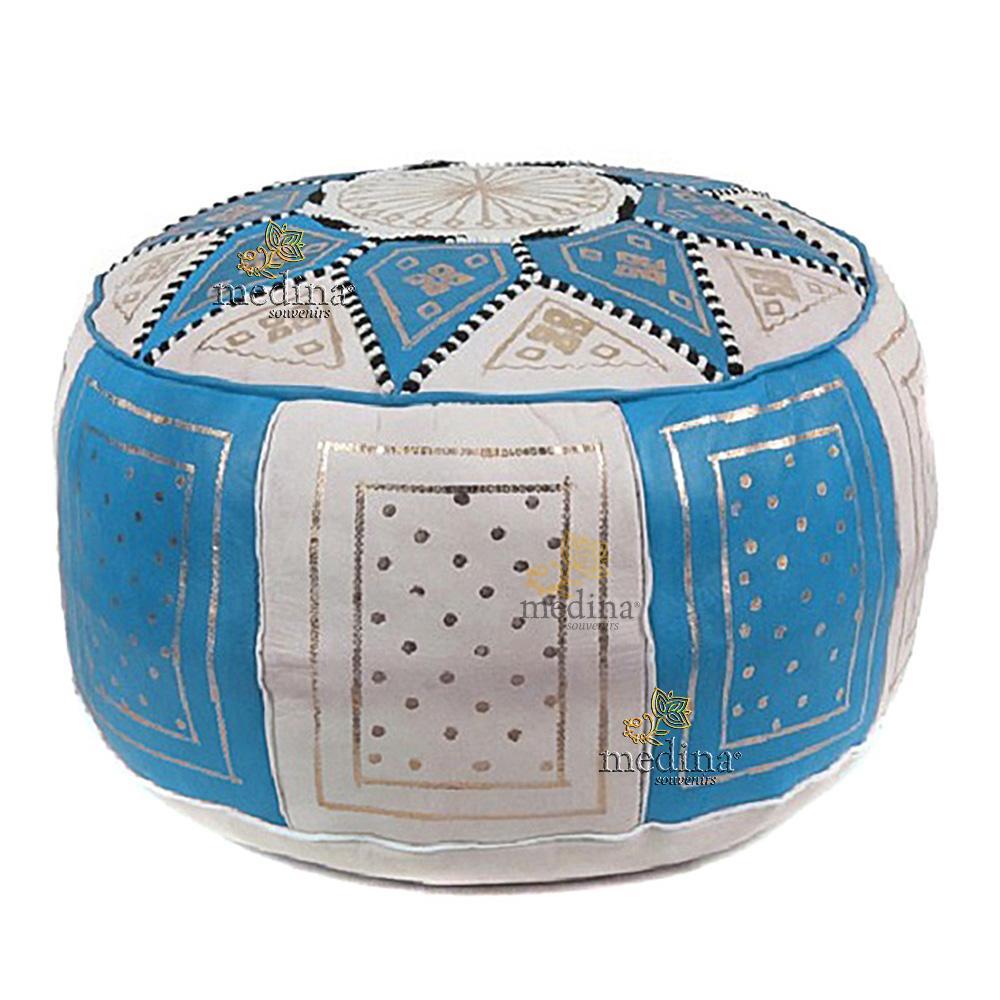 Pouf fassi en cuir Turquoise et blanc, pouffe marocain en cuir veritable fait main