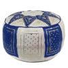 Pouf fassi en cuir Bleu et blanc, pouffe marocain en cuir veritable fait main