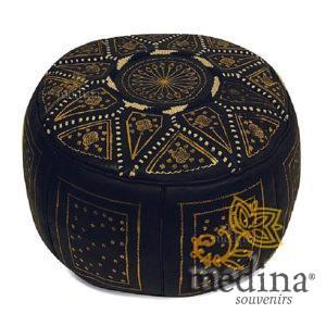 Pouf fassi en cuir Noir et doré, pouffe marocain en cuir veritable fait main