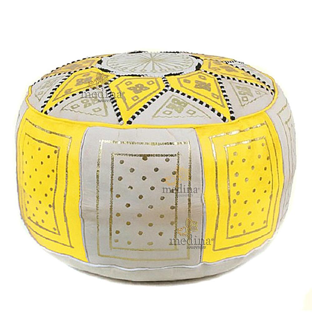 Pouf fassi en cuir Jaune et blanc, pouffe marocain en cuir veritable fait main