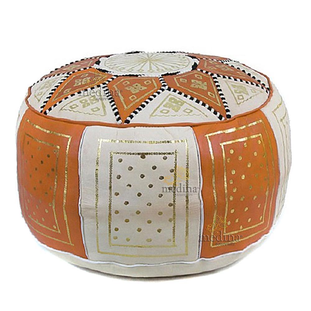 Pouf fassi en cuir Orange et blanc, pouffe marocain en cuir veritable fait main