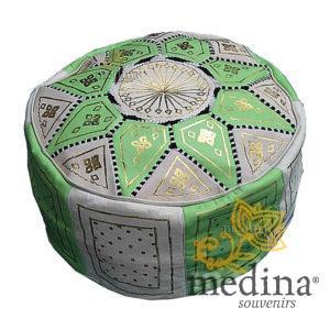 Pouf fassi en cuir Vert pomme, pouffe marocain en cuir veritable fait main