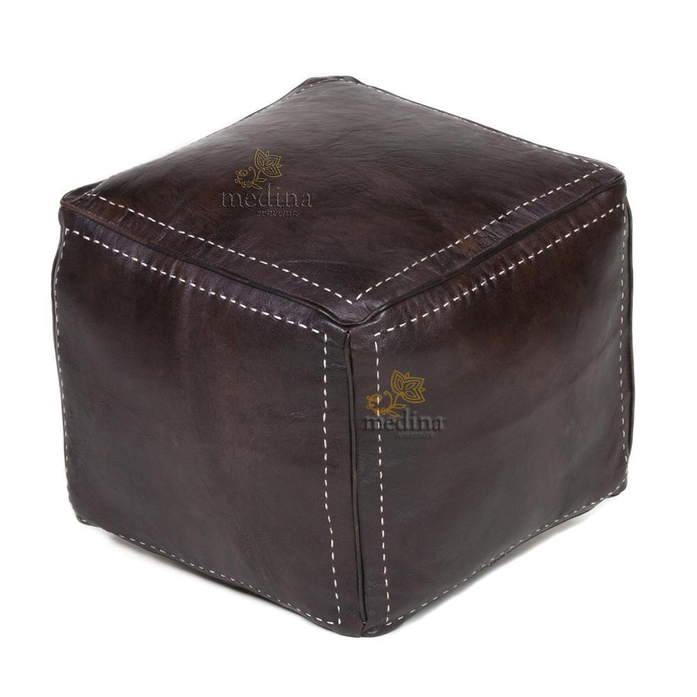Pouf carré marron chocolat en cuir surpiqué, pouf haute qualité entièrement fait main
