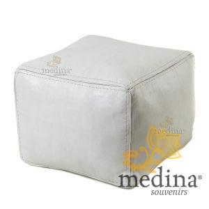 Pouf carré blanc en cuir surpiqué, pouf haute qualité entièrement fait main