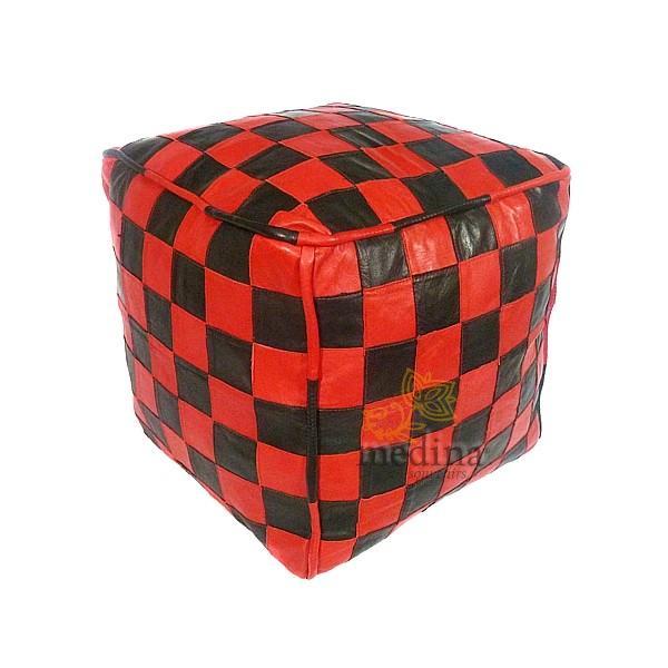 Pouf en cuir rouge et noir design carreaux