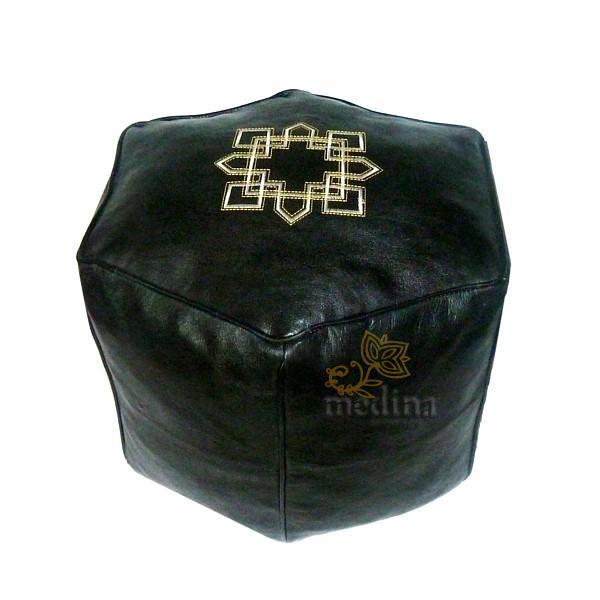 Pouf marocain hexagonale noir
