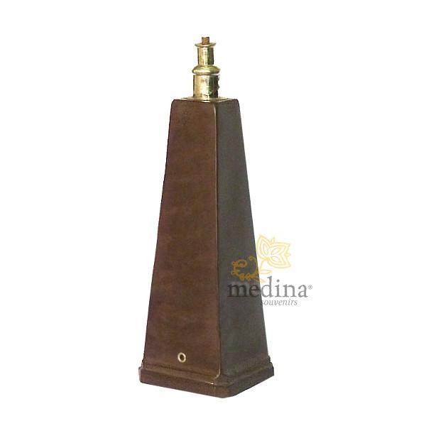 Pied de lampe en Tadelakt pyramide couleur chocolat