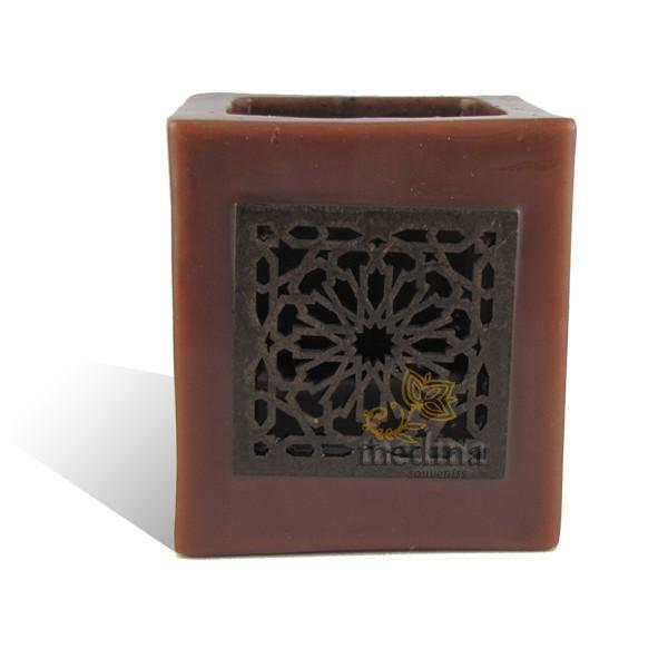 Photophore cube chocolat motif carré mouchaibieh