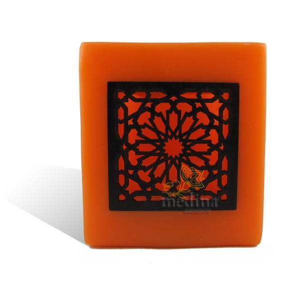 Photophore cube orange motif carré mouchaibieh