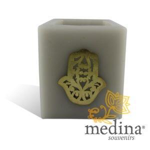 Photophore cube gris main fatima en dorée